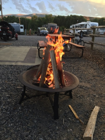 Full time RV living with a campfire
